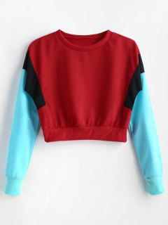 Color Block Cropped Tricolor Sweatshirt - Red L