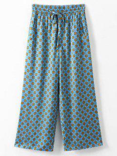 Side Pockets Printed Wide Leg Pants - Multi M