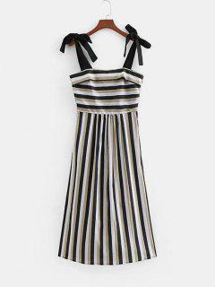 Tied Straps Stripes Casual Dress - Multi M