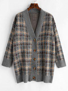 Houndstooth Tunic Cardigan - Multi