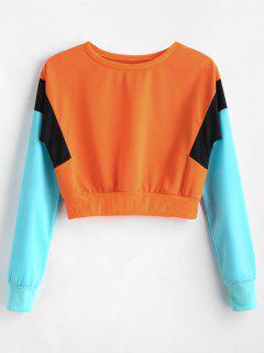 Color Block Cropped Tricolor Sweatshirt - Orange M