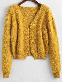 Furry Drop Shoulder Cardigan - Sun Yellow