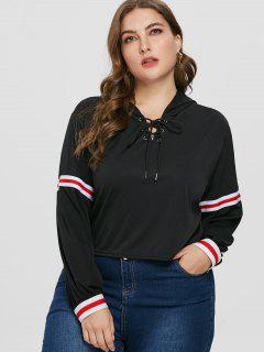 Lace Up Side Stripe Plus Size Pullover Hoodie - Black 1x