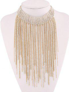 Collier Ras Du Cou Strass Gland - Or