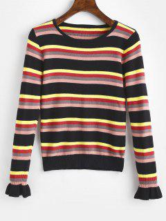 Bell Sleeves Striped Knitted Top - Black