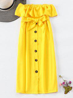 Button Embellished Strapless Belted Dress - Yellow L
