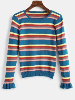 Bell Sleeves Striped Knitted Top - Blue