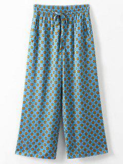 Side Pockets Printed Wide Leg Pants - Multi L