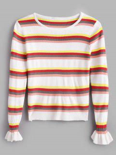Bell Sleeves Striped Knitted Top - White