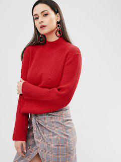 ZAFUL Bell Sleeve Mock Neck Sweater - Red