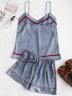 Piped Satin Cami Top And Shorts Pajama Set - Blue Gray L
