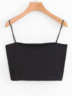 Spaghetti Strap Cropped Top - Black S