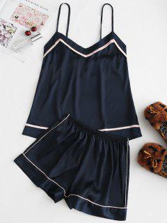 Piped Satin Cami Top And Shorts Pajama Set - Deep Blue L