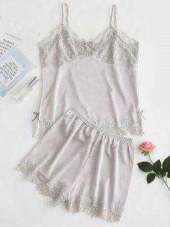 Satin Cami Top And Shorts Pajama Set - Gray Goose Xl