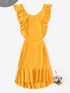 Ruffles Backless Sleeveless Dress - Bright Yellow M