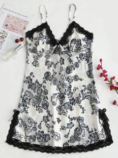 Robe Chemise Fendue Florale Imprimée En Satin - Multi 2xl