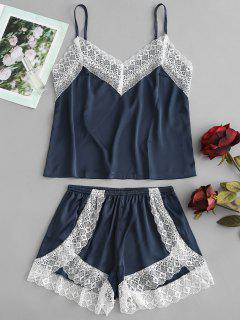 Satin Cami Top And High Leg Shorts Pajama Set - Peacock Blue Xl