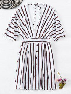Buttons Striped Low Cut Dress - White L