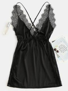 Side Slit Satin Lace Chemise Dress - Black M