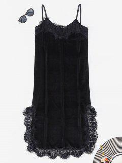 Lace Trim Velvet Slip Dress - Black L