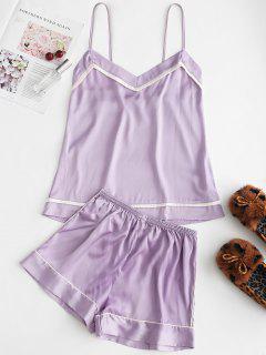 Piped Satin Cami Top And Shorts Pajama Set - Purple 2xl