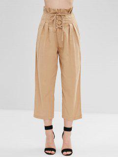 Pantalon à Taille Haute à Lacets - Bronze S