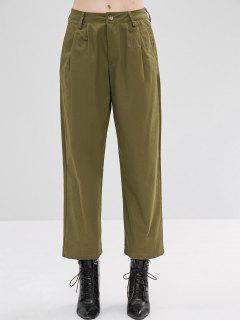 High Waisted Twill Wide Leg Pants - Army Green M