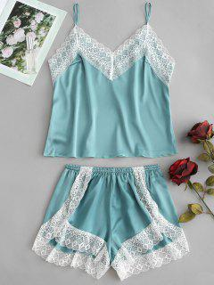 Satin Cami Top And High Leg Shorts Pajama Set - Sea Green M
