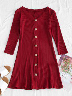Ribbed Knit Mini Flare Dress - Red Wine M