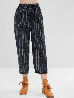 Vertical Stripe Wide Leg Pants - Deep Blue