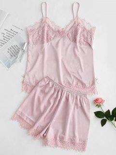 Satin Cami Top And Shorts Pajama Set - Pink L