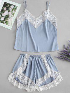 Satin Cami Top And High Leg Shorts Pajama Set - Blue Gray M