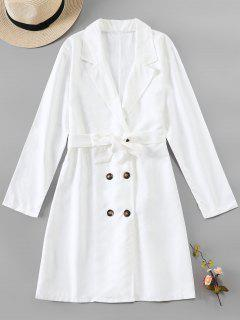 Button Up Belted Longline Blazer - White S