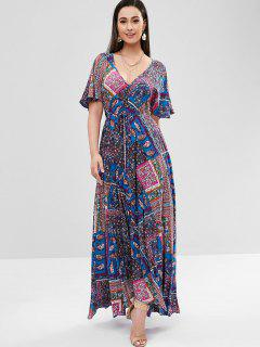 Flower Butterfly Sleeve Maxi Dress - Sapphire Blue L