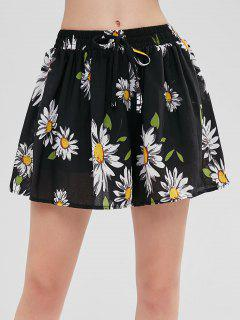 Pull On Swingy Sunflower Print Shorts - Black 2xl