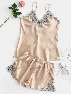 Contrast Lace Satin Cami Top And Shorts Pajama Set - Champagne Gold L