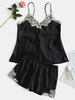 Contrast Lace Satin Cami Top And Shorts Pajama Set - Black L