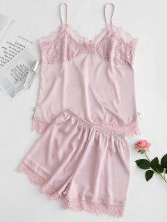 Satin Cami Top And Shorts Pajama Set - Pink M