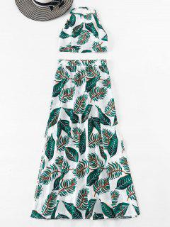 Backless Leaves Top And Skirt Set - Green M