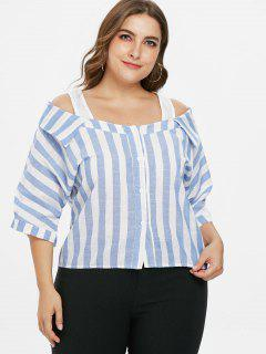 Plus Size Cold Shoulder Striped Blouse - Sky Blue 3x