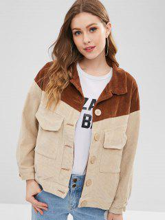 Color Block Corduroy Jacket - Brown M