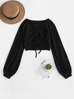 Ribbed Tie Cinched Long Sleeve Cropped Sweater - Black S