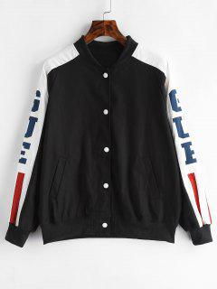 Snap Button Cat Graphic Bomber Jacket - Black M