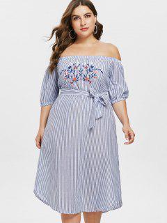 Vestido De Hombro Bordado De Rayas De Talla Grande  - Multicolor 5x