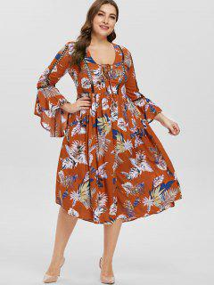 Flare Sleeve Plus Size Lace-up Casual Dress - Multi L