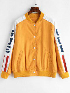 Snap Button Cat Graphic Bomber Jacket - Bee Yellow M