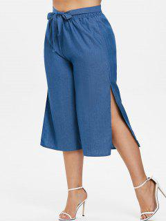 Side Slit Plus Size Gaucho Pants - Light Steel Blue 4x