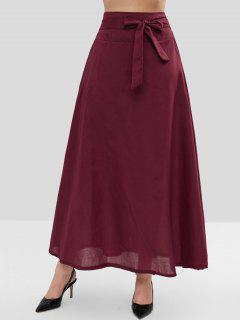 Tie Waist A Line Maxi Skirt - Maroon S