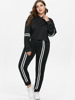Plus Size Hoodie And Joggers Pants Sweat Suit - Black 1x