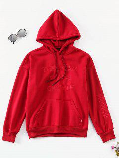 Solid Letter Embroidered Fleece Hoodie - Lava Red M